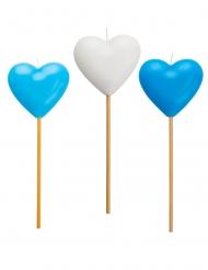 3 Candeline a forma di cuore azzurre e bianche
