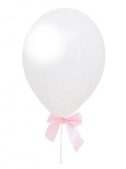 4 palloncini bianchi con fiocco rosa