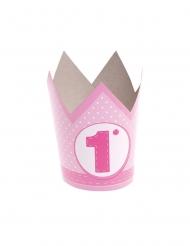 6 cappellini corona in carta 1 anno rosa