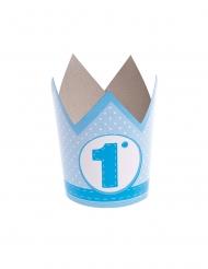 6 cappellini corona in carta 1 anno blu