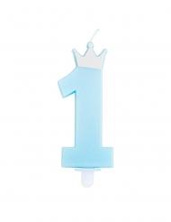 Candelina numero 1 blu con corona