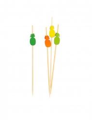 25 stecchini in bambù con ananas multicolor