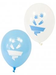 8 palloncini in lattice piedini bianchi e blu