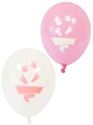 8 palloncini in lattice piedini bianchi e rosa