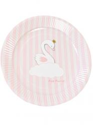 6 Piattini di cartone cigno rosa