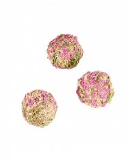 4 sfere decorative con fiori bianchi e rosa