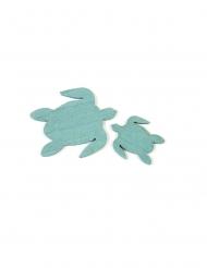 10 coriandoli in legno tartarughe blu