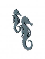 10 coriandoli in legno cavallucci marini blu