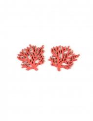 12 coriandoli di legno coralli rossi