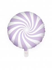 Palloncino alluminio lecca lecca viola e bianco