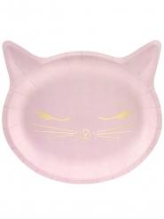 6 Piatti in cartone gattini rosa