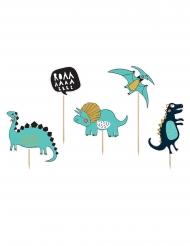 5 decorazioni per torta dinosauri blu