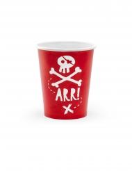 6 bicchieri in cartone rossi pirati