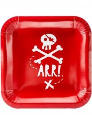 6 piattini in cartone rossi pirata 20 cm