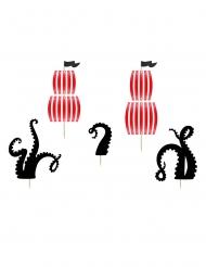 5 decorazioni per torta nere e rosse pirati