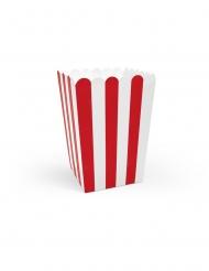 6 scatole da pop corn bianche e rosse