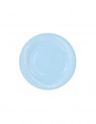6 piattini in cartone celesti 18 cm