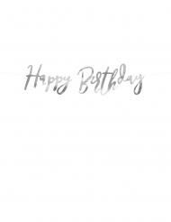Ghirlanda in cartone Happy Birthday color argento
