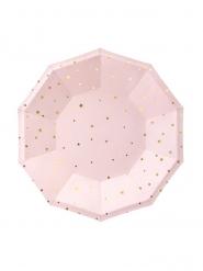 6 piattini ottagonali rosa e pois oro 18 cm