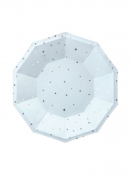 6 piattini in cartone celesti stelle argento 18 cm