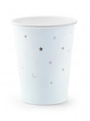6 bicchieri in cartone celesti stelle argento