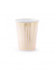 6 bicchieri in cartone rosa e oro metallizzato