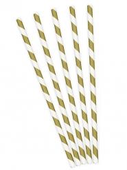 10 cannucce in cartone a righe oro e bianche
