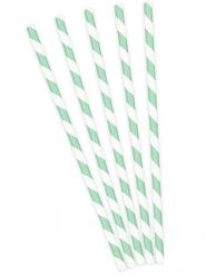 10 cannucce in cartone a righe verdi e bianche