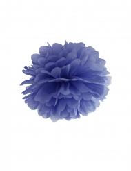 Pon pon di carta blu scuro da appendere 35 cm