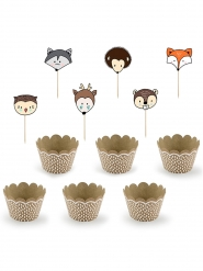 6 pirottini per cupcakes con bandierine animali della foresta