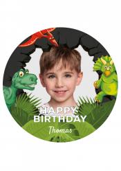 Disco di zucchero personalizzabile tema dinosauri