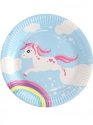 6 piatti in cartone unicorno magico blu 23 cm