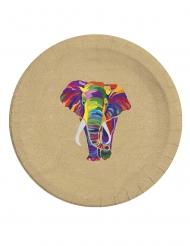 8 piatti in cartone biodegradabile elefante multicolor