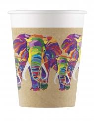 8 bicchieri in cartone elefante multicolor