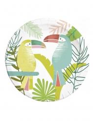 8 piatti in cartone tucano tropicale 23 cm