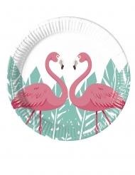 8 piattini in cartone flamingo 20 cm
