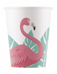 8 bicchieri in cartone flamingo
