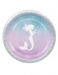 8 piatti in cartone sirena elegante 23 cm