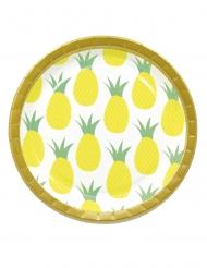8 piatti in cartone ananas gialle 23 cm
