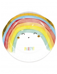 8 piatti in cartone rainbow party 23 cm