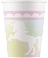 8 bicchieri in cartone unicorno rosa e pastello