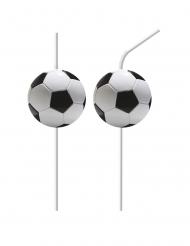 6 cannucce flessibili con pallone calcio