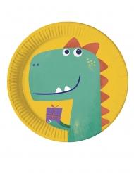 8 piatti biodegradabili dinosauro party 23 cm