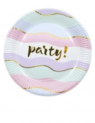 8 piattini in cartone party pastello 20 cm