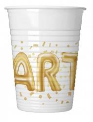 8 bicchieri in plastica Party oro e bianco