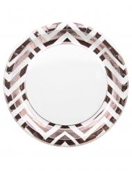 8 piatti in cartone zig zag color oro rosa 23 cm