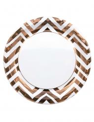 8 piatti in cartone zig zag color rame 23 cm