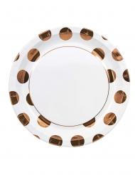 8 piatti in cartone bianchi grandi pois color rame 23 cm