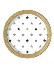 8 piatti in cartone stelle oro nere e argento 23 cm