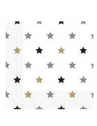 20 tovaglioli di carta stellle oro argento e nere